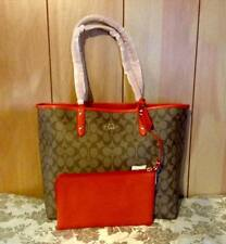 NWT COACH REVERSIBLE CITY TOTE IN SIGNATURE KHAKI/WATERMELON STYLE: F36658