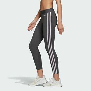 Womens Adidas Leggings Leggins Stripe Joggers Grey White Gym Running Yoga Sports