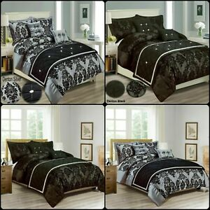 New Luxury Damask Duvet Cover Bedding Set Pillowcase Size Double king S-K Size