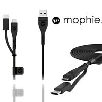 Mophie 2m PRO USB 2.0 Micro USB And Type C Data Cable Black Fast Charge Lead