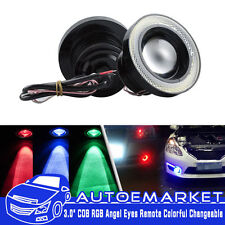 "3.5"" LED COB Multi Color RGB Angel Eye Halo Ring Fog Light Remote Control US 2PC"