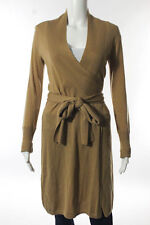 Diane Von Furstenberg Camel Beige Merino Wool Wrapped Sweater Dress Size Small