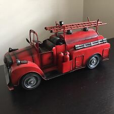 Vintage Folk Art Metal Red Fire Truck Firetruck Toy Art Hose Wheels Sculpture NR
