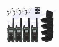 4 Motorola TALKABOUT T465 Two-Way Radio Hands-Free Walkie Talkies PTT Earpieces