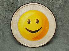 Emoji Smile Tin Metal Sign Funny Computer Cell Phone Facebook Round NEW