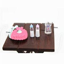 1:12 Dollhouse Miniature Toy Baby Milk Bottle Bib ShowerGel 5 pcs Home Decor