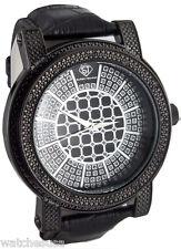 Super Techno M-9000 Men's Diamond Black & Silver Dial Leather Band Watch