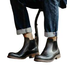 38-44 British Men Genuine Cow Leather Chelsea Boots Shoes Carved Business Work L