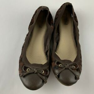 Sperry Elise Women 10 M Brown Ballet Flats Calf Hair Animal Print Shoe STS90936