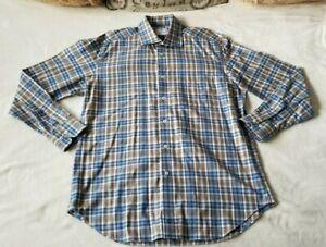 David Donahue Mens Shirt Size Large Plaid Embroidered Logo Long Sleeve