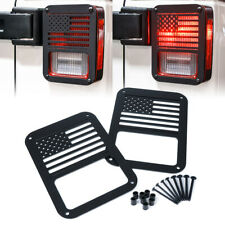 1 Pair Rear Taillight Cover Guard U.S. American Flag for 07 -18 Jeep Wrangler