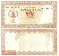 Zimbabwe 20.000 Dollars P23e  Bearer Cheque 2003 Rare Rarts