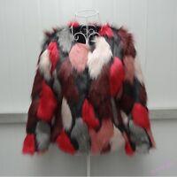 Womens Faux Fur Coat Loose Sweet Short Style Winter Parka Outwear Multicolor