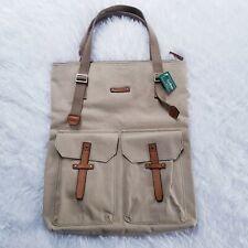 LL Bean NWT New Meadows Canvas Tote Handbag Leather Trim Khaki
