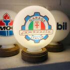 Lamretta Garage Italia Mini Gas Pump Globe, Solid Oak Wooden Base LED Desk Lamp