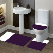 New Bathroom Set Bath Rug Contour Mat Toilet Lid Cover #7 2-T Purple/White