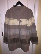Pendleton Taupe Brown Wool Coat Long Sleeve Striped Winter Jacket Women's XL
