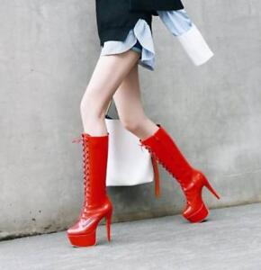 Women Super High Heels Stiletto Patent Leather Platform Lace up Knee High Boots