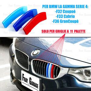 3x Cover Strisce Griglia M BMW Serie 4 F32 F33 F36 (SOLO Per Reni a 11 Palette)