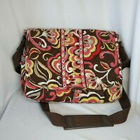 Vera Bradley Messenger Laptop Bag Crossbody Puccini Brown Yellow Pink