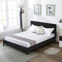 Faux Leather Queen Size Solid Platform Bed Frame & Slats Upholstered Headboard