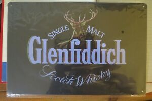GLENFIDDICH WHISKY METAL TIN SIGN vintage. man cave bar  retro style 30 by 20 cm