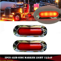 2x Red 4 LED Clearance Side Marker Lights for Car Truck Trailer Pickup 12-24V