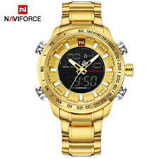 NAVIFORCE Mens Waterproof Sport Watch Gold Quartz LED Men Military Wristwatch