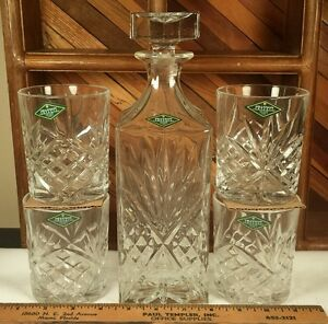 SHANNON CRYSTAL Designs of Ireland Hand Crafted Whisky Decanter & 4 rocks glass