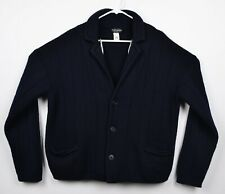 Vtg Brooks Brothers Men's XL 100% Wool Made in Italy Navy Blue Cardigan Sweater