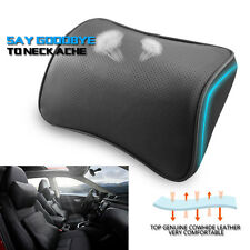Black Car Headrest Pad Memory Foam Leather Pillow Neck Rest Support Cushion UK
