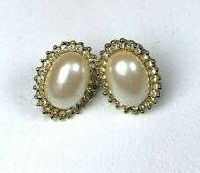 Vintage Signed Monet Faux Gold Tone Opal  Earrings