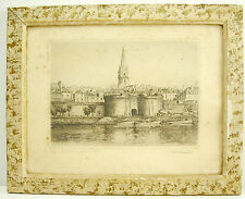 Leopold ROBIN (1877-1939) la grande porte de Saint Malo Bretagne gravure