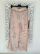 Zara Woman Nude Gatto Stampa Pantaloni di seta, taglia M UK 10 NUOVO