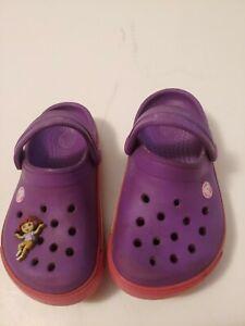 Purple Polly Pocket Crocs Kids Size 6-7.