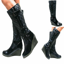 Wedge Knee High Boots Casual Synthetic Upper Shoes for Women