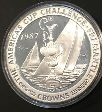 1987 Rare Proof 5 Ounce Coin Isle Of Man Collectible .999 Fine Silver 5 Crowns