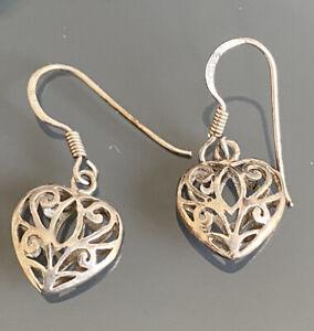 Silver Heart Drop Earrings 925 Sterling