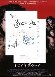 The Lost Boys Script/Screenplay With Movie Poster And Autographs Signed Print