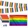 Yinuoday 12pcs/set Gay Pride Rainbow Flag Set, 3ft x5ft Large Flag + 16.4ft Flag