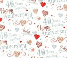2 Sheets Gift Wrapping Paper HAPPY RUBY WEDDING ANNIVERSARY 40 Years Together