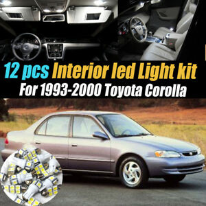 12Pc Super White Interior LED Light Bulb Kit Pack for 1993-2000 Toyota Corolla