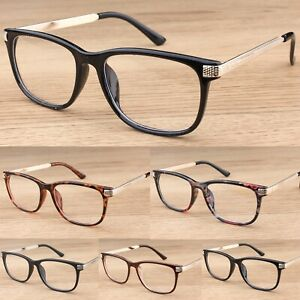 Classic Rectangular Clear Lens Glasses Women's Mens Fashion  Vintage