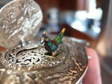 Antique Sterling Silver Singing Bird Box Automaton Music Box (Watch Video)