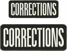 CORRECTIONS embroidery patches 3x8 and 2x6 hook on back black and white