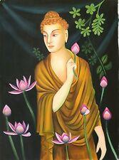Buddha Painting Handmade Buddhist Oil on Canvas Indian Buddhism Wall Decor Art
