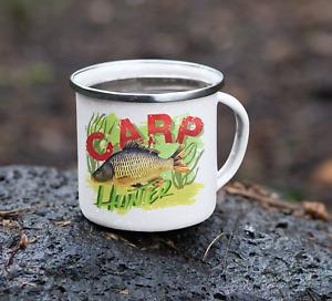 Personalised Fishing Carp Enamel Metal Mugs Cups