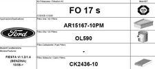 FO17S KIT 3 FILTRI TAGLIANDO FORD FIESTA VI 1.4 71 KW 97 CV BENZINA GPL METANO