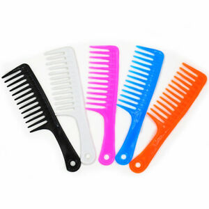 Womens Ladies Barbers Salon Tools Wide Toothed Curly Hair Comb Black UK