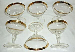 VINTAGE SET 6 RETRO COLOURED & GILDED CHAMPAGNE GLASSES - excellent cond - 1960s